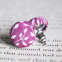 Purple Leaf Button Earring..